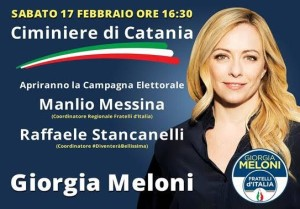 Giorgia Meloni a Catania lancia la candidatura di Manlio Messina e Raffaele Stancanelli