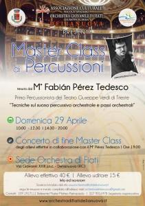 """Delianuova (Rc). Master Class di Percussioni tenuta M° Fabiàn Pérez Tedesco: """"Tecniche sul suono percussivo orchestrale e passi orchestrali"""""""