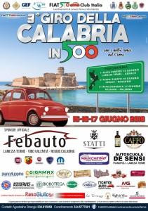 """Venerdì, 15 giugno, si darà il via alla terza edizione del """"Giro della Calabria in 500""""."""