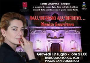 Monica Guerritore a Badolato (Cz) il prossimo 19 Luglio per una serata CIR/SPRAR-Rifugiati