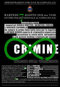 """Satriano (Cz). """"Indagine sulla 'Ndrangheta"""", martedì 7 agosto, con Nicola Gratteri."""