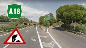 A18, Messina-Catania. Svincolo di Acireale: lavori nelle rampe d'uscita ed entrata per risanare la sede stradale
