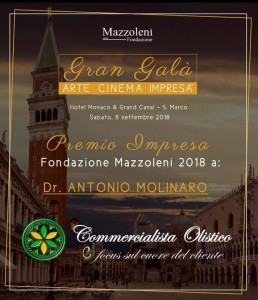 A Venezia sabato 8 settembre, il calabrese Antonio Molinaro premiato al Gran Galà Arte Cinema & Impresa.