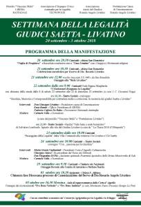 """Sicilia. Programma 2018 """"Settimana della Legalità Giudici Saetta Livatino"""""""