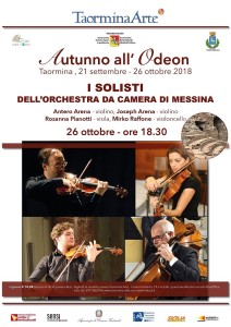 Taormina (Me). Autunno all'Odeon: concerto dei solisti dell'Orchestra da Camera di Messina.
