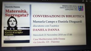 """Palermo. Presentazione del libro di Daniela Danna """"Maternità surrogata""""."""