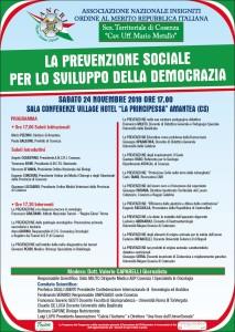 """Amantea (Cs). Delegazione Calabria Ancri: """"La prevenzione sociale per lo sviluppo della Democrazia"""" il 24 novembre"""
