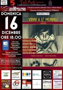 "Milazzo (Me). QuiNteatro presenta Martina Zuccarello in ""Vinni a u' munnu""."