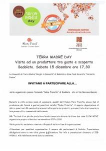 """Badolato (Cz). Eventi territoriali """"Terra Madre Day"""": sabato 15 dicembre pomeriggio visita di """"gusto e scoperta"""" ad un giovane produttore locale."""