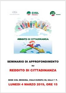 Messina. Reddito di cittadinanza, lunedì prossimo seminario di approfondimento alla Cisl