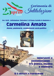 Badolato (Cz). Belvedere intitolato a Carmelina Amato nel giorno della liberazione