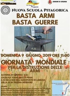 Curinga (Cz). Giornata Mondiale per la distruzione delle armi, 9 giugno 2019 ore 11.00.