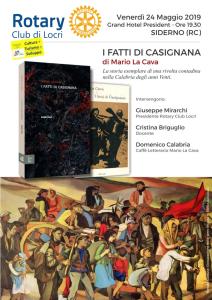 """Siderno (RC). Presentazione del romanzo """"I fatti di Casignana"""" di Mario La Cava."""