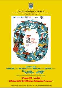 """Messina. Galleria d'Arte """"Lucio Barbera"""", venerdì 21 giugno concerti e recital di poesie quasimodiane in occasione della Giornata europea della Musica"""