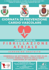 Comune di Cerchiara (Cs): giornata di prevenzione cardiovascolare al plesso termale grotta delle ninfe