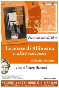 """Capo d'Orlando (Me). Venerdì 6 settembre a Villa Piccolo la presentazione del libro di Valeria Ferrante  """"Le nozze di Alfonsina ed altri racconti"""""""