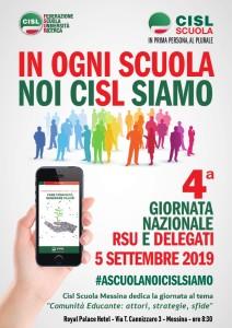Messina. Giovedì 5 settembre al Royal Palace Hotel la quarta Giornata Nazionale RSU e delegati. La Cisl Scuola fa il punto alla vigilia dell'avvio dell'anno scolastico