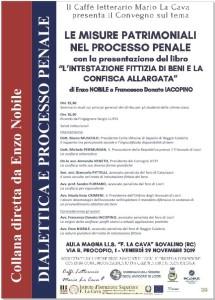 """Bovalino (Rc)-Beni confiscati: domani importante Convegno sul tema """"Le misure patrimoniali nel processo penale"""""""