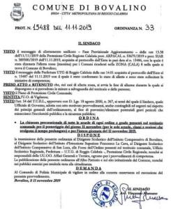 """Bovalino (Rc)-Maltempo: """"Allerta rossa"""" e scuole chiuse per condizioni meteo avverse, nei giorni 11 e 12 novembre"""