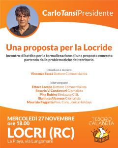 Carlo Tansi mercoledì 27 novembre incontrerà i cittadini di Locri (Rc)