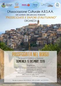 """Badolato Borgo (Cz). Associazione Culturale A.R.S.A.A.:  """"Passeggiata d'Autunno"""" domenica 15 dicembre 2019"""