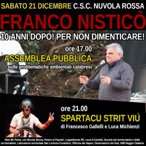 A Villa San Giovanni (Rc) iniziativa nel nome di Franco Nisticò a 10 anni dalla sua morte