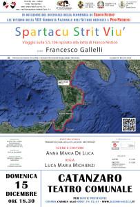 Spartacu Strit Viù al Teatro Comunale di Catanzaro, domenica 15 dicembre ore 18.30