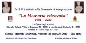 """Messina. Venerdì 31 al Teatro Vittorio Emanuele la cerimonia di inaugurazione """"La memoria ritrovata"""""""