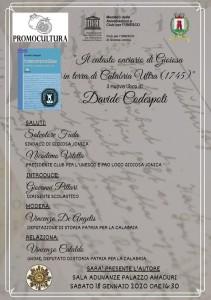 Bovalino (Rc): Sarà presentato sabato 18 gennaio, a Gioiosa J., il nuovo libro di Davide Codespoti