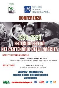 """Archivio di Stato di Reggio Calabria: giornata di studi sul tema """"Federico Fellini nel centenario della nascita"""""""