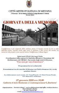 """Messina. Galleria d'Arte """"Lucio Barbera"""", lunedì 27 gennaio incontro commemorativo in occasione della Giornata della Memoria"""
