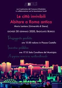 """Badolato (Cz). """"Le città invivibili. Abitare a Roma antica"""". Incontro pubblico il 30 gennaio 2020"""