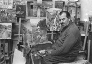 4-nicolacaporale-nel-suo-laboratorio-di-pittura-1975