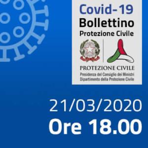 Protezione Civile. Covid-19: i casi in Italia alle ore 18 del 21 marzo