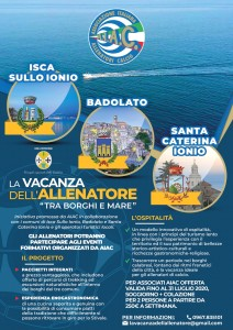 """S. Caterina dello Jonio. AIAC. Gruppo Calabria """"La vacanza dell'allenatore"""" tra Borghi e Mare"""