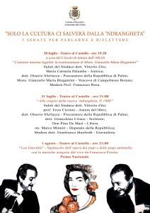 """Roccella Jonica (Rc): tutto pronto per la 1° edizione dell'evento """"Solo la cultura ci salverà dalla 'ndrangheta"""""""