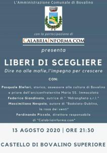 """Bovalino (Rc): """"Liberi di scegliere"""". Dire no alle mafie, l'impegno per crescere"""